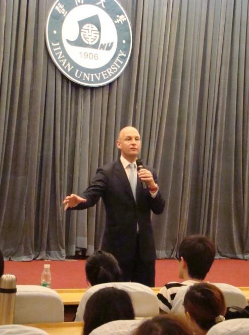 Consul General of Norway in Guangzhou Speaking at Jinan