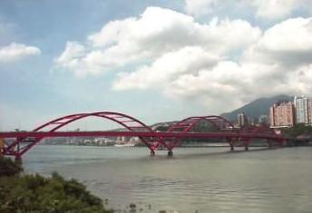 Close the temple bridge in Taibei  Taiwan Taibei of China