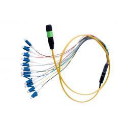 China Flat Round MPO MTP Fiber Optic Patch Cord , 12 Core Ribbon Fiber Cable OFNR Jacket on sale