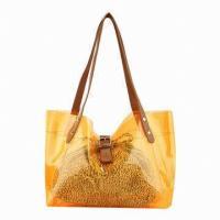 Orange / Green Girls School Messenger Bags Beach Bag For Shopping