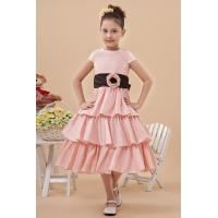 Beautiful Round Pearl Pink Unique Flower Girl Dresses / Cake Dress with Cap Sleeve
