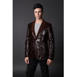 China 100%Viscose Mens Leather Suits Casual and Designer, New Style,Warmly Fleece Lined Suit on sale