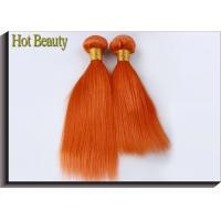 Customized Orange Hair Silk Straight 100% Human Hair Double stitch weft