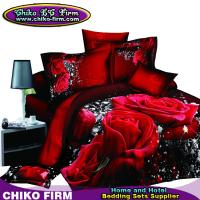 Pure Cotton Red Rose Reactive 3D Printed Queen King Bedding Sets