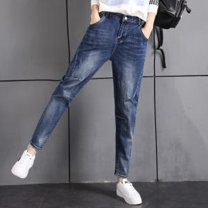 China Plus Size Womens Tapered Slim Straight Legged Jeans With Big Thighs Non Fading supplier
