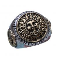 Antiquated Sterling Silver Brass 2 Tone Sunflowers Design Men Ring (058842)