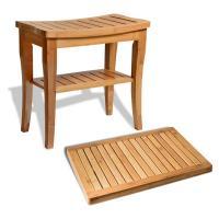 Durable Bamboo Bathroom Supplies Wood Shower Seat Bench With Bathroom Floor Mat