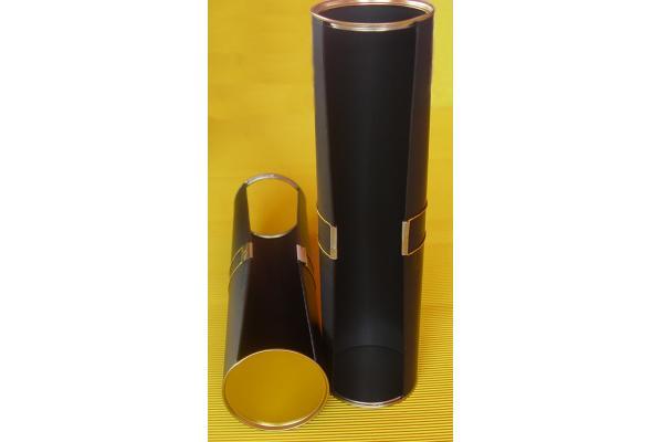 tube rond noir bo te de carton rigide emballage bouteille de vin cadeau avec ouverture de. Black Bedroom Furniture Sets. Home Design Ideas