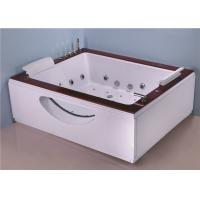 Two Person Jacuzzi Bathtub Indoor , Electric Spa Soaking Tub With Oak Edging