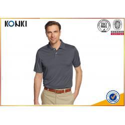 China Mature Custom Mens Polo Shirts Grey Color / Pink Color Dri Fit Polo Shirts on sale