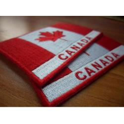 China Custom twill 100% embroidered Canada flag patches, plastic backing,sew-on,8.0cm*6.0cm, two colors on sale