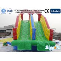 Double Lanes Inflatable Water Slides Game With Removable Swimming Pool