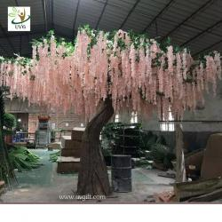 China UVG WIS007 6m pink huge silk wisteria blossom fake trees for weddings on sale