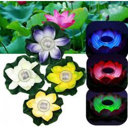 China Multi-Color RGB Garden Pool Floating Lotus Solar Powered LED lamp Flower Night Light Fountain Pond Solar Lighting on sale