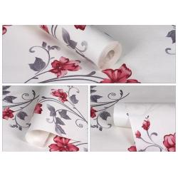 China Red Flower Self Adhesive Wallpaper / Chinese Style Wallpaper For Home Interiors on sale
