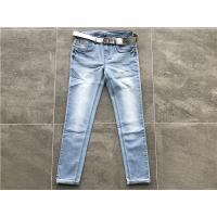 Milk / Light Blue Ladies Stretch Denim Jeans , Belted Skinny Jeans TW72964