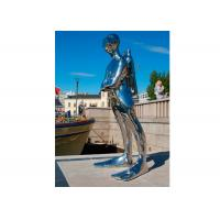 Mirror Polished Life Size Ss Sculpture Diver Sculpture For Outdoor Decoration