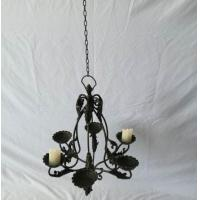 Iron traditional antique living room hanging pendent candle lantern Vintage hanging chain lamp candler with wire shade