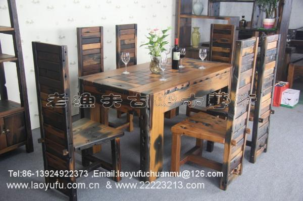 Wonderful China Old Fisherman Ship Wood Furniture Home Furniture Dining Table And  Chairs Handcraft,