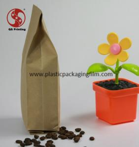 Quad Side Sealing Flat Bottom Kraft Paper Bags for Coffee Bean / Tea Packing