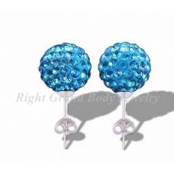 China 8mm Fake Plug Earrings , Swarovski Tiffany Ear Studs on sale