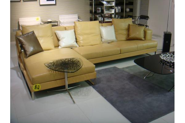 Modern Yellow Leather Living Room Sectional Sofas With Wood Feet Livingroomfurnitures