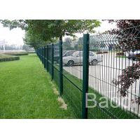 Customized Mild Steel Mesh Fencing Panels , Bus Station Weld Wire Fence With Round Post