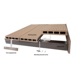 China Hollow WPC Decking Flooring and DIY Tiles for Outside Garden Wood Tile on sale