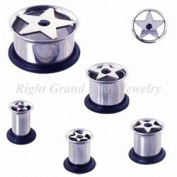 China Steel & Jet Star Ear Flesh Tunnels 10mm With Swarovski Stone For Gift on sale