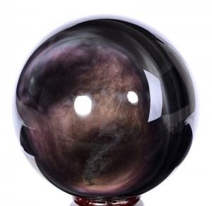 "China 200mm(7.87"") Huge Natural Rainbow Obsidian Sphere, Ball Carving #9941 supplier"