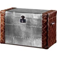 Retro Vintage Leather Storage Trunk Aluminium Sheet Lifted Cover Full Hand Craft