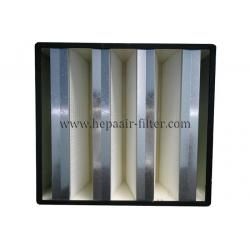 China Galvanized Sheet Rigid V Bank Filters Dust Air Filters In HVAC Air Conditional System on sale