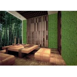 China Bamboo Embossed Peelable Durable Velvet Flock Wallpaper Green / Yellow on sale