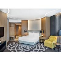 Luxury 4 Star Hotel Bedroom Furniture King / Queen Size Bed With Veneer PU Leather Wall Panel