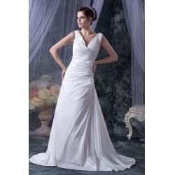 China High End Taffeta Strapless Mermaid Wedding Dresses Gowns , V Neck A Line Design on sale