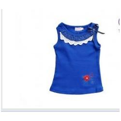 China  Blue Cotton Girl kids Toddler Graphic Tees Skirts ,  Sleeveless cool Kids T shirts on sale