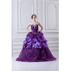 China New Sweetie Girls Quinceanera Party Dresses Organza Beading Ball Gown , Purple on sale