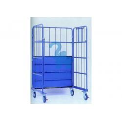 China 4 Wheels Heavy Duty Warehouse Cage Trolley , Fold Up Metal Security Cage on sale