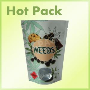 Printed Stand Up Kraft Paper Tea Bag Pouch With Round Clear Window