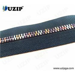 China Fashion Zipper with Rainbow Teeth and Silver Tape on sale