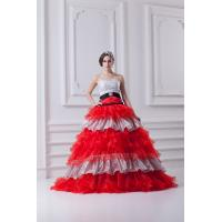 Temptation Strapless Organza Quinceanera Party Dresses with Black Belt , Red and White