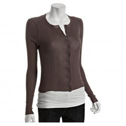 China Brown Cotton Crew Neck Ladies Cardigan Sweaters Ribbed With Buttons on sale