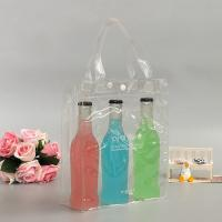 heavy-duty transparent PVC waterproof wine bottle bags with brand logo printed