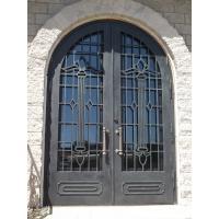 Arched double door wrought iron entry doors famous design OEM door Thermal break workable