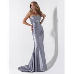 China Sexy Strapless Mermaid Party Dress, Silver Beaded For Evening Ball on sale