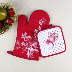 Christmas Theme Highly Recommend Kitchen Cooking Pot Holder and Oven Mitten Glove