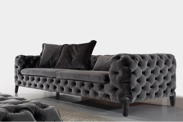sofs modernos negros elegantes de la tela muebles suaves de chesterfield