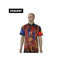 China Anti - UV Mens Embroidered Polo Shirts 150gsm Mesh Dri Fit Fabric Multi Color on sale