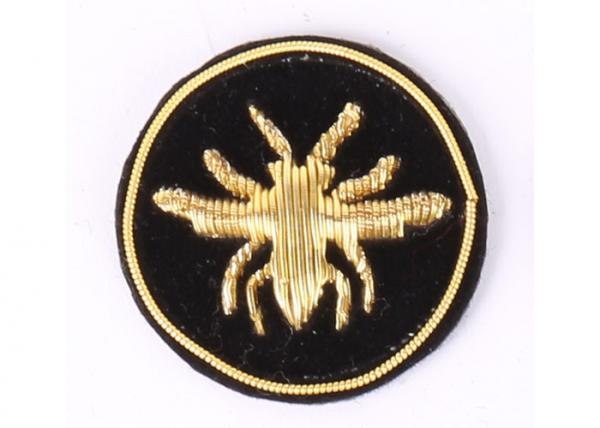 China Round Bee Bullion Wire Badges Emblems Washable Embroidered Uniform Patches supplier