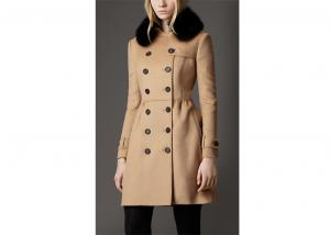 Simple Winter Warm Fur collar Wool Blend Coats Women Teenage Girls